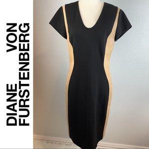 Diane Von Furstenburg Black & Tan Illusion Dress